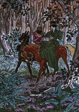 Madame Bovary in Forest with Her Lover, Illustration for Madame Bovary by Pierre Brissaud