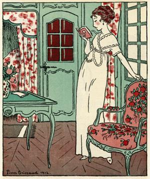Women Reading a Book 1912 by Pierre Brissaud