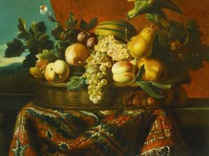 Grapes, Peaches, Plums, Pears and a Melon in a Basket with a Parakeet, a Red Squirrel and a… by Pierre Dupuis