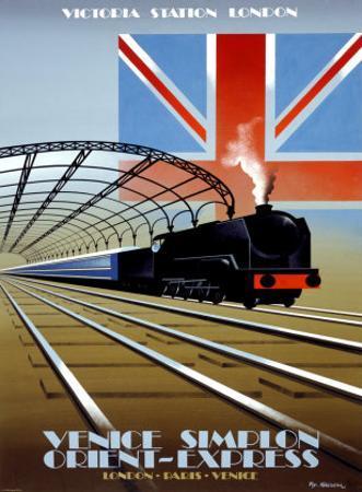 Victoria Station, London, Orient Express by Pierre Fix-Masseau