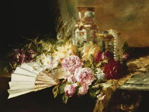 A Fan with Roses, Daisies and a Famille Rose Vase on a Draped Table by Pierre Garnier