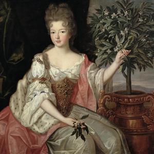 Portrait of Francoise Marie De Bourbon (1677-1749) Duchess of Orleans (Mademoiselle De Blois) by Pierre Gobert