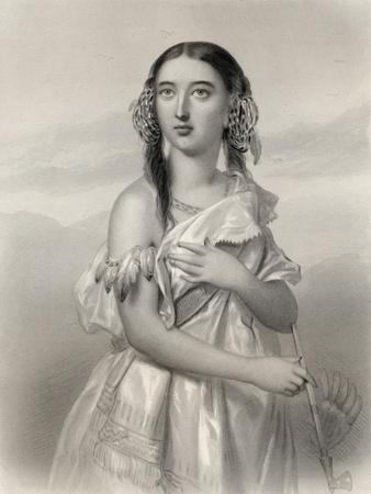 Pocahontas (1595-1617) Illustration from 'World Noted Women' by Mary Cowden Clarke, 1858