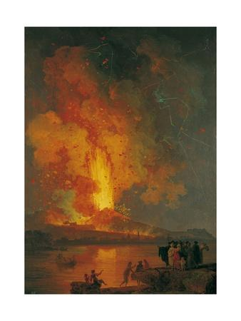 Eruption of Vesuvius, Pierre-Jacques Volaire, 18th C. People Watch from across Gulf of Naples