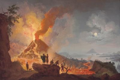 Mount Vesuvius Erupting by Night, Seen from the Atrio Del Cavallo with Spectators in the…