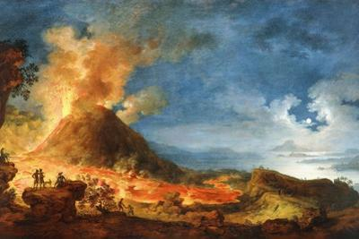Vesuvius Erupting, with Sightseers in the Foreground