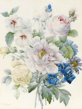 A Bunch of Flowers Including a Peony by Pierre Joseph Redoute