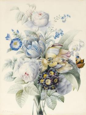 A Bunch of Flowers Including Roses by Pierre Joseph Redoute