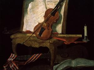 Still Life with a Violin, 19th Century by Pierre Justin Ouvrie