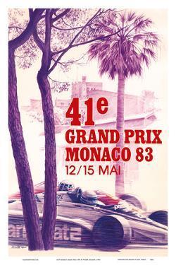 41st Monaco Grand Prix 1983 - Formula One Race Car by Pierre Lecomte