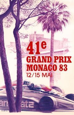 41st Monaco Grand Prix 1983 - Formula One Race Car by Pierre Lecomte