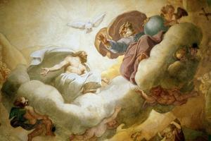 Detail of the Painting of the Interior of the Dome Depicting the Holy Trinity, 1663-65 by Pierre Mignard