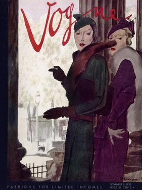 Vogue Cover - November 1933 by Pierre Mourgue