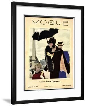 Vogue Cover - October 1927 by Pierre Mourgue