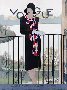 Vogue Cover - September 1928 by Pierre Mourgue