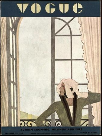 Vogue Cover - September 1930 by Pierre Mourgue