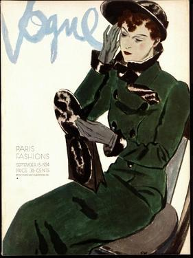 Vogue Cover - September 1934 by Pierre Mourgue