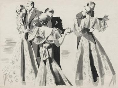 Vogue - January 1935 - Three Dancing Couples by Pierre Mourgue