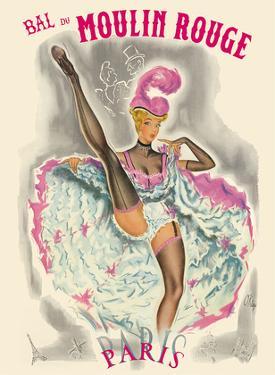 Paris, France - Bal Du Moulin Rouge - French Cancan Dancer by Pierre Okley