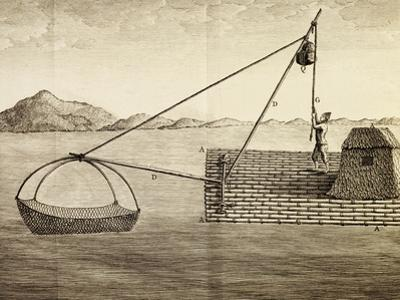 Fishing Method Used by Luzon Island Indians, Engraving from Voyage to New Guinea