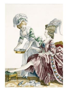An Elegant Woman Washing Her Feet, Plate 32 from 'Galerie Des Modes Et Costumes Francais' by Pierre Thomas Le Clerc