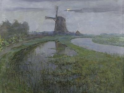 Mill Along the River Gein by Moonlight by Piet Mondriaan
