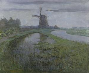 Oostzijdse Mill Along the River Gein by Moonlight, C. 1903 by Piet Mondriaan