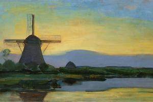 Oostzijdse Mill with Extended Blue, Yellow and Purple Sky, C.1907-Early 1908 by Piet Mondrian