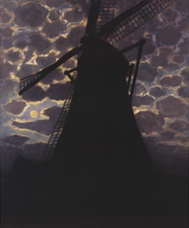Windmill at Night by Piet Mondrian