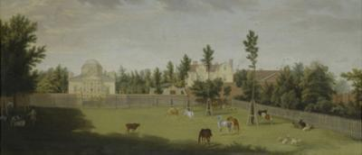 View of the New Villa, Old House and Stables from across Burlington Lane, Chiswick Villa
