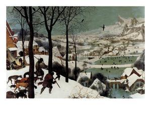 Hunters in the Snow - Detail by Pieter Breughel the Elder