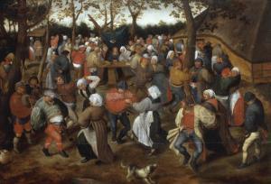 A Wedding Feast with Peasants Dancing by Pieter Bruegel the Elder