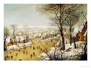A Winter Landscape with Skaters and a Bird Trap by Pieter Bruegel the Elder