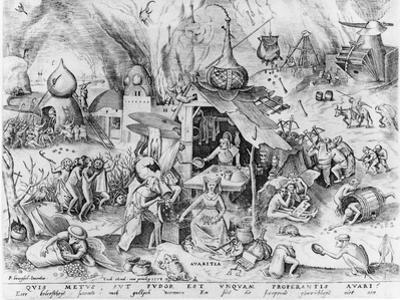 Avarice, from the Seven Deadly Sins, Engraved by Pieter Van Der Heyden (C.1530-72) 1558 by Pieter Bruegel the Elder