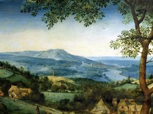 Haymaking, Detail of the Background Landscape, 1565 (Detail) by Pieter Bruegel the Elder