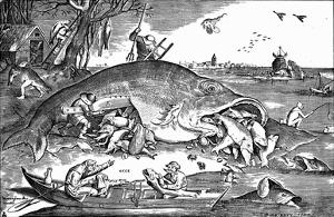 Pieter Brueghel (Big fish eat the little ones) Art Poster Print