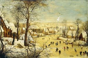 A Village in Winter with a Birdtrap and Skaters on a Frozen Waterway by Pieter Brueghel the Younger