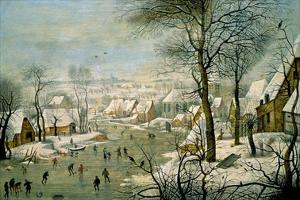A Winter Landscape with Skaters and a Bird Trap by Pieter Brueghel the Younger