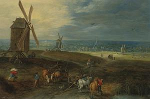 An Extensive Landscape With Travellers Before A Windmill by Pieter Brueghel the Younger