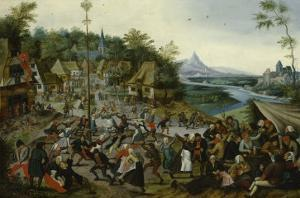 Peasants dancing around a Maypole by Pieter Brueghel the Younger
