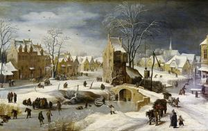 Winter Scene with Ice Skaters and Birds by Pieter Brueghel the Younger