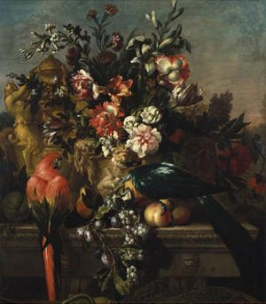 Carnations and Other Flowers with Parrots on a Pedestal by Pieter Casteels