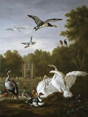 Swans, Ducks and Other Birds in a Park by Pieter Casteels
