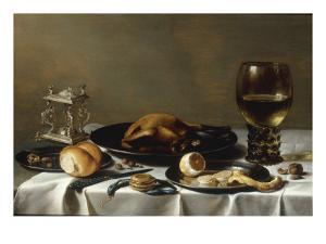 A Banketje Still Life with a Roemer, a Mounted Salt-Cellar, Pewter Plates with a Roast Chicken� by Pieter Claesz