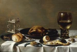 A Banketje Still Life with a Roemer, a Mounted Salt-Cellar, Pewter Plates with a Roast Chicken? by Pieter Claesz