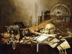 A Vanitas Still Life of Musical Instruments and Manuscripts, an Overturned Gilt Covered Goblet, a… by Pieter Claesz
