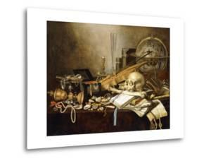 A Vanitas Still Life of Musical Instruments and Manuscripts, an Overturned Gilt Covered Goblet, a? by Pieter Claesz