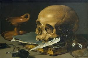 Still Life with a Skull and a Writing Quill, 1628 by Pieter Claesz