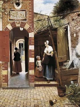The Courtyard of a House in Delft by Pieter Cornelisz Hoock