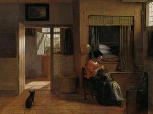 A Mother Delousing Her Childs Hair by Pieter de Hooch